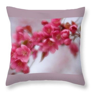 Throw Pillow featuring the photograph Crabapple Blossom - Dark Pink by Diane Alexander
