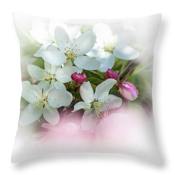Crabapple Blossoms 3 - Throw Pillow