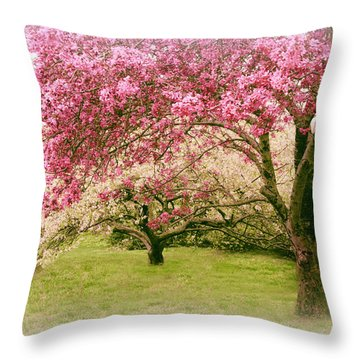 Throw Pillow featuring the photograph Crabapple Confection by Jessica Jenney