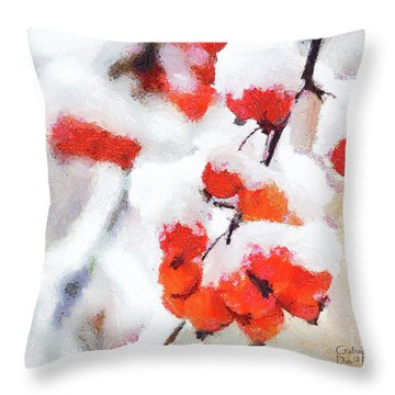 Throw Pillow featuring the photograph Crabapples In The Snow by David Perry Lawrence