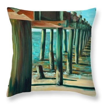 Throw Pillow featuring the painting Crabbing At Low Tide by Suzanne McKee