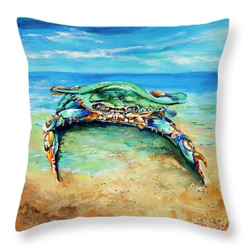 Crabby At The Beach Throw Pillow