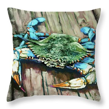 Crabby Blue Throw Pillow
