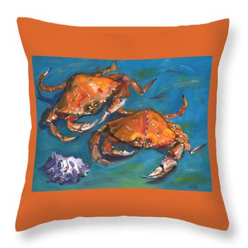 Throw Pillow featuring the painting Crabs by Susan Thomas