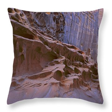Crack Canyon Blue Wall Throw Pillow