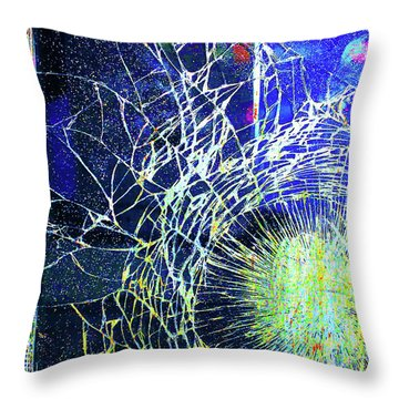Throw Pillow featuring the mixed media Crack by Tony Rubino