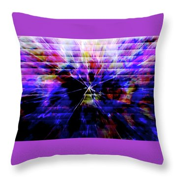 Cracked Abstract Blue Throw Pillow
