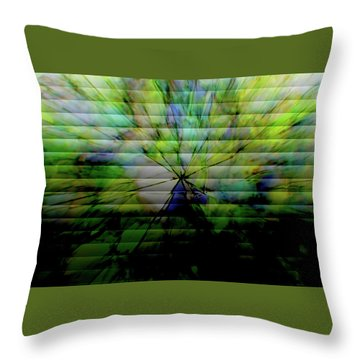 Cracked Abstract Green Throw Pillow