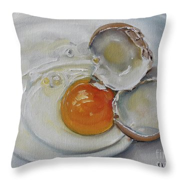 Cracked Brown Egg Throw Pillow