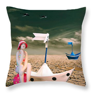 Throw Pillow featuring the photograph Cracked II - The Bathing Beauty by Chris Armytage