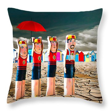 Throw Pillow featuring the photograph Cracked V - The Life Guards by Chris Armytage