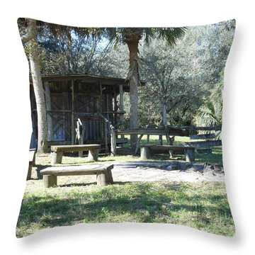 Cracker Cow Hunter Shack Throw Pillow by Kay Gilley