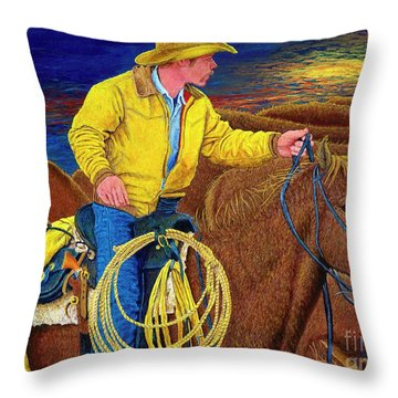 Cracker Cowboy Sunrise Throw Pillow