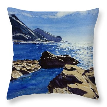 Throw Pillow featuring the painting Crackington Haven Sparkle by Lawrence Dyer