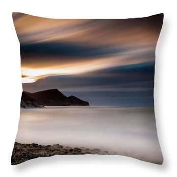 Crackington Haven Sunset Throw Pillow