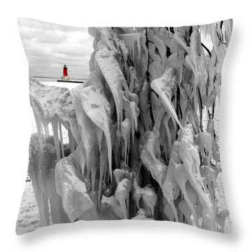 Throw Pillow featuring the photograph Cradled In Ice - Menominee North Pier Lighthouse by Mark J Seefeldt
