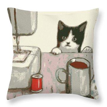 Crafty Cat #2 Throw Pillow