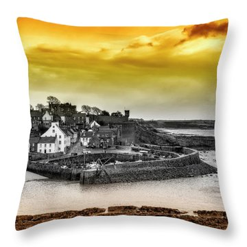 Crail Harbour Throw Pillow by Jeremy Lavender Photography
