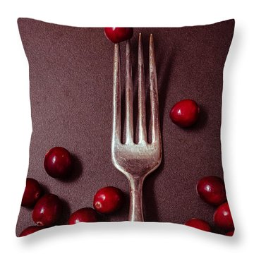 Cranberries And Fork Throw Pillow by Ana V Ramirez