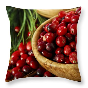 Cranberries In Bowls Throw Pillow by Elena Elisseeva