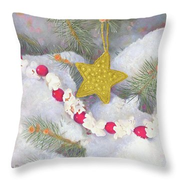 Throw Pillow featuring the painting Cranberry Garland With Gold Christmas Star by Nancy Lee Moran
