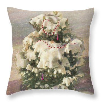 Throw Pillow featuring the painting Cranberry Garlands Christmas Blue Spruce by Nancy Lee Moran
