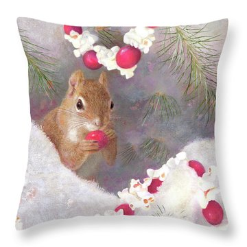 Throw Pillow featuring the painting Cranberry Garlands Christmas Squirrel by Nancy Lee Moran