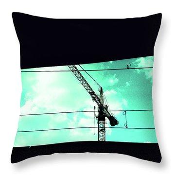 Crane And Shadows Throw Pillow