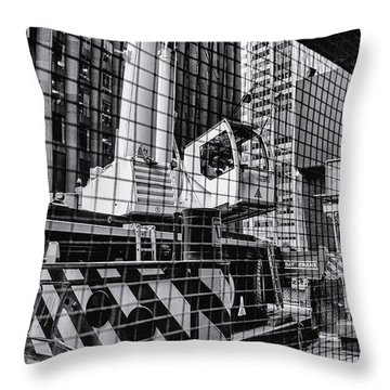 Crane In Manhattan Throw Pillow