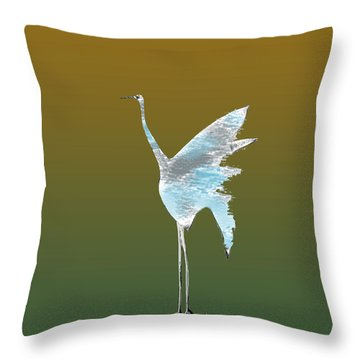 Crane Sketch Throw Pillow by Asok Mukhopadhyay