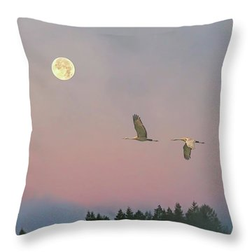 Throw Pillow featuring the photograph Cranes And A Full Moon At Dawn by Peggy Collins