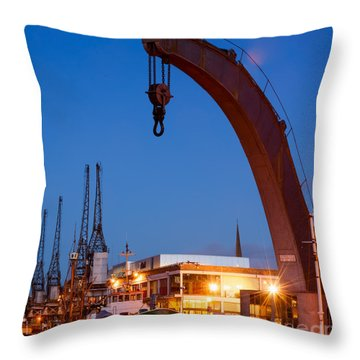 Cranes, Bristol Harbour Throw Pillow