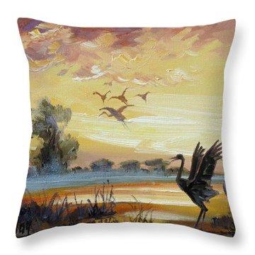 Cranes - Evening Flight Throw Pillow