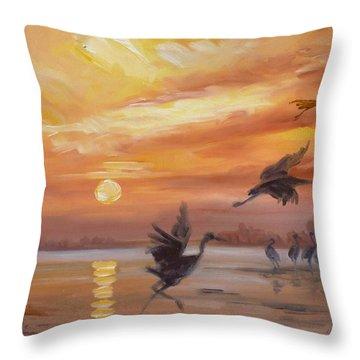 Cranes - Golden Sunset Throw Pillow