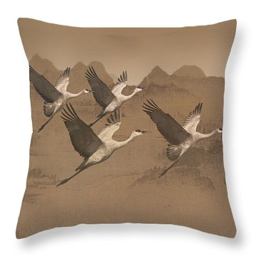 Cranes Migrating Over Mongolia Throw Pillow