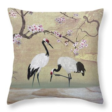 Cranes Under Cherry Tree Throw Pillow