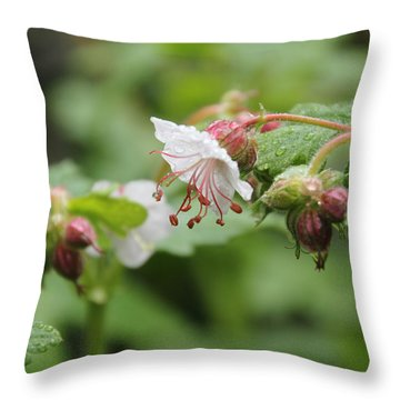 Cranesbill Raindrops Throw Pillow