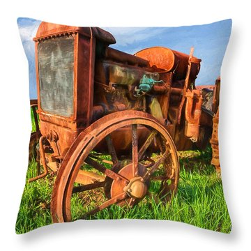 Throw Pillow featuring the painting Crank And Plow II by Dan Carmichael