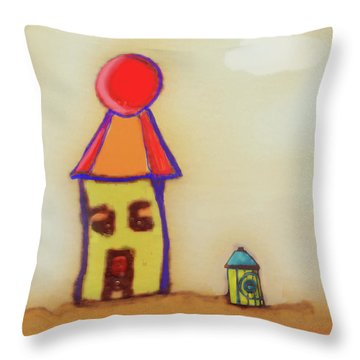 Cranky Clown Cabana And Fire Hydrant Throw Pillow
