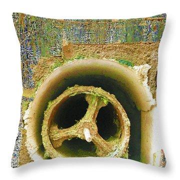 Throw Pillow featuring the mixed media Crank by Tony Rubino