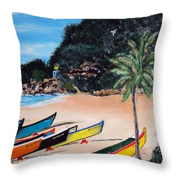 Crashboat Beach I Throw Pillow by Luis F Rodriguez