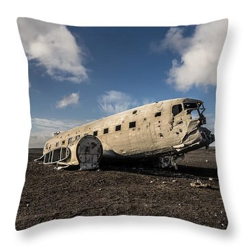 Throw Pillow featuring the photograph Crashed Dc-3 by James Billings