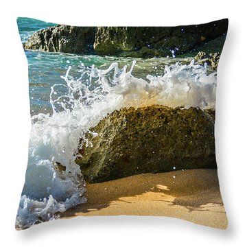 Crashing Over The Rock Throw Pillow