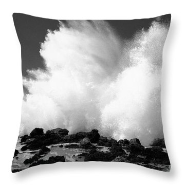 Crashing Wave - Bw Throw Pillow by Dana Edmunds - Printscapes