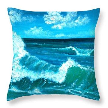 Throw Pillow featuring the painting Crashing Wave by Anastasiya Malakhova