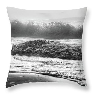 Throw Pillow featuring the photograph Crashing Wave At Beach Black And White  by John McGraw
