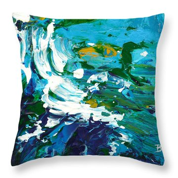 Crashing Wave Throw Pillow by Donna Blackhall