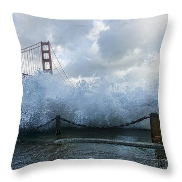 Throw Pillow featuring the photograph Crashing Wave Golden Gate Bridge King Tide by Steve Siri