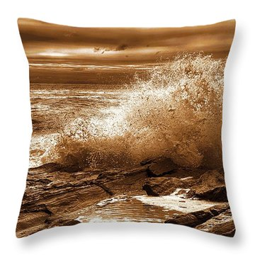 Crashing Wave Hdr Golden Glow Throw Pillow by Sherman Perry