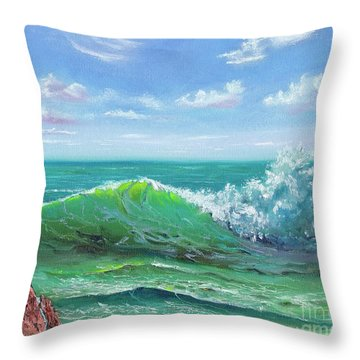 Throw Pillow featuring the painting Crashing Wave by Mary Scott